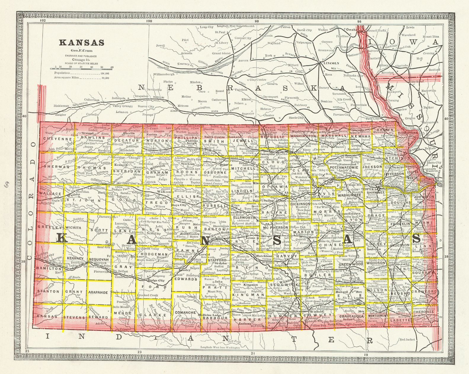 Map Antique Kansas Geo F Cram 1883 Chicago State Map With