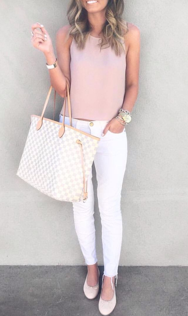 66a19ec2e41 Like the blush color top - like it paired with the white pants (or any  white or black bottoms)
