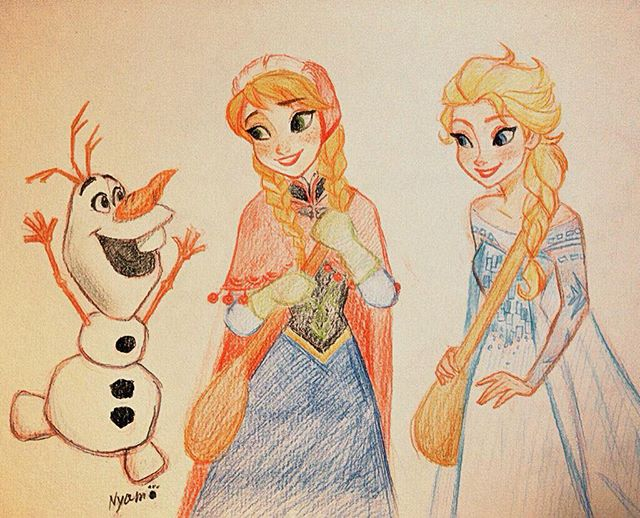 Frozen Elsa Anna Olaf Drawing Sketch Fanart Disney Princess Sketches Princess Sketches Frozen Drawings