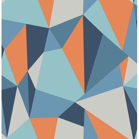 Brewster Kline Blue Facet Wallpaper - Walmart.com