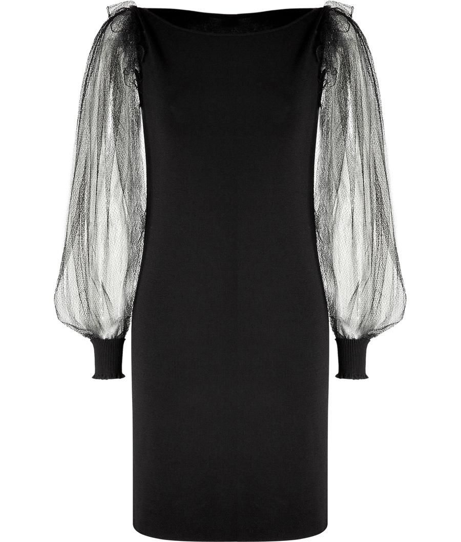 Black tulle sleeve messia dress by azzaro long sleeve cocktail