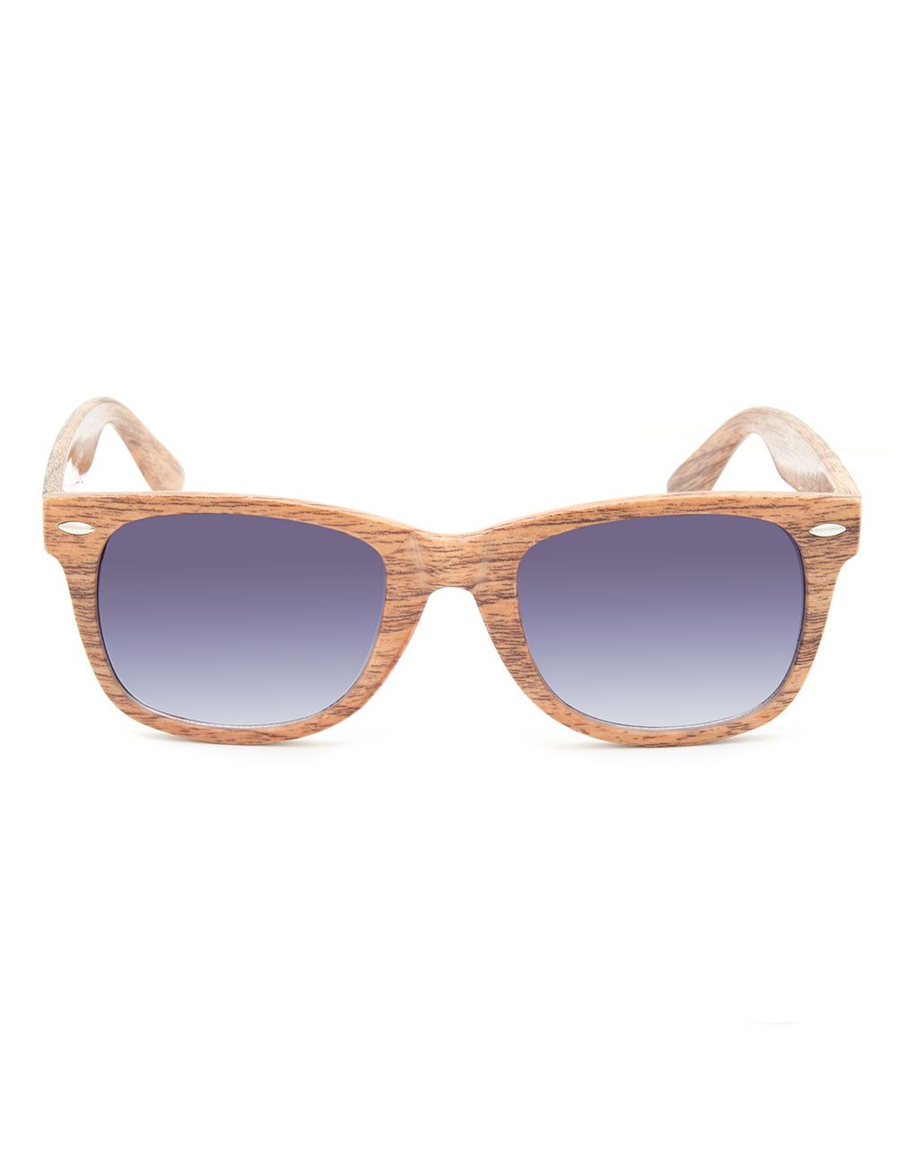 6b27fc2969 Blue Crown wood wayfarer sunglasses. Features faux wood plastic frames with  a geometric print on arms. Grey lens. 100% UV protection. Imported.