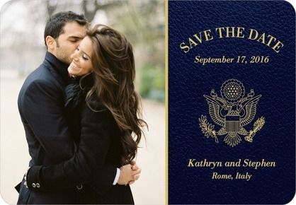 Passionate Passport - Save the Date Magnets - Fine Moments - Navy - Blue : Front