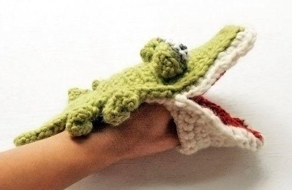 Crocodile Crochet Wool puppet | Amigurumi finger puppets | Pinterest ...