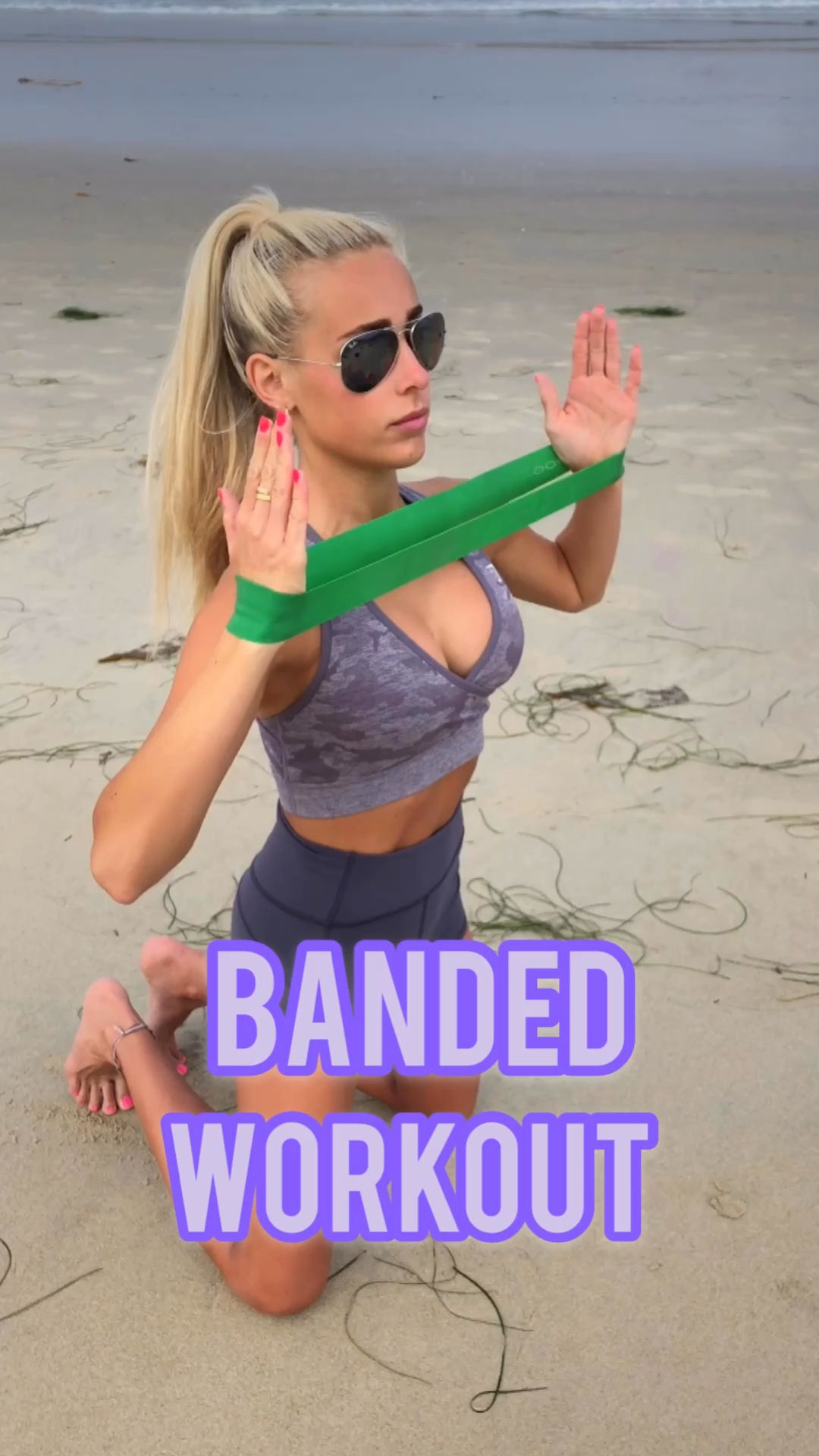 Banded Beach Workout- Follow @ambrymehr IG for free workouts!