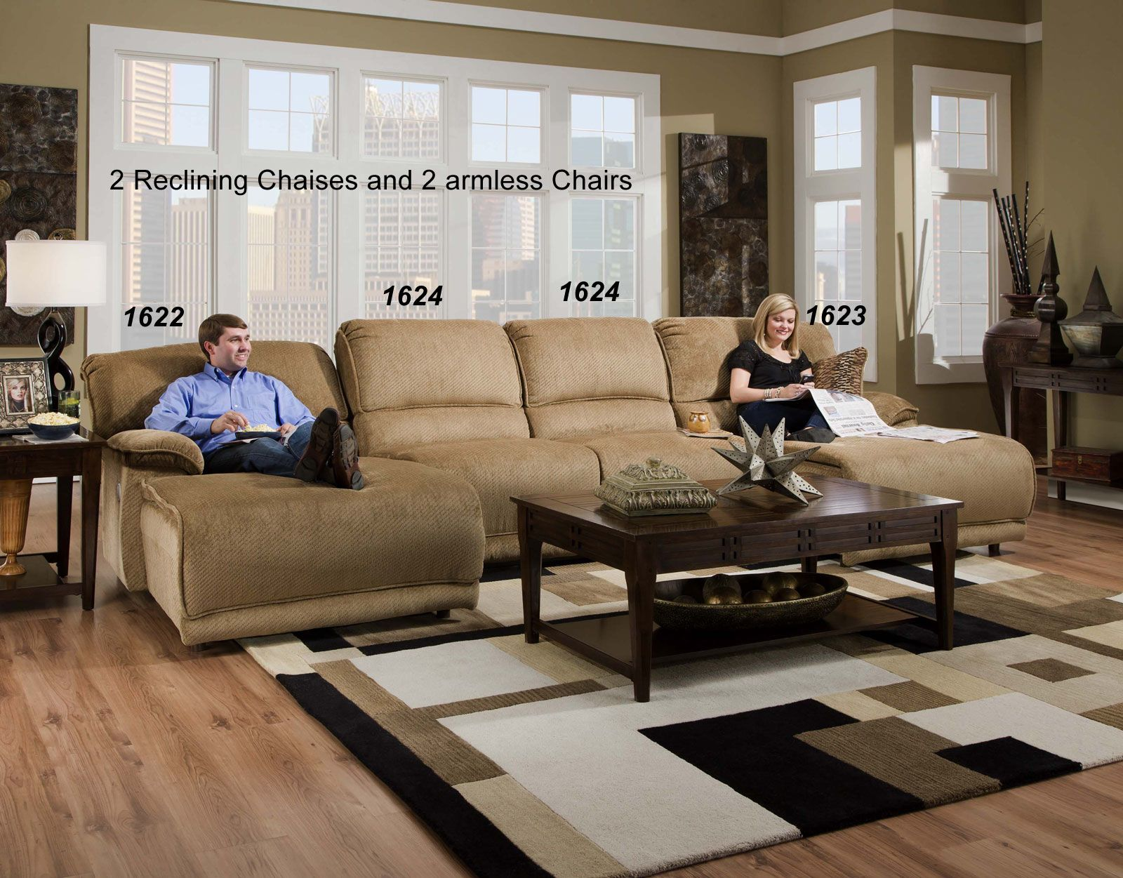 Catnapper grandover pc reclining chaise sectional sofa set
