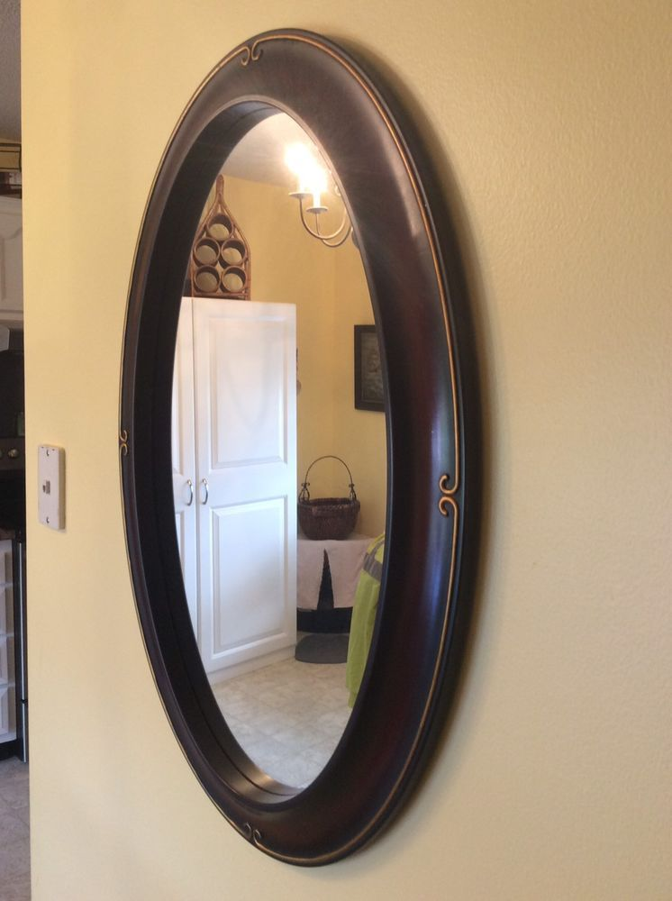 Oval Cherry Wood Colored Wall Mirror 31 X 21 Ebay List Re