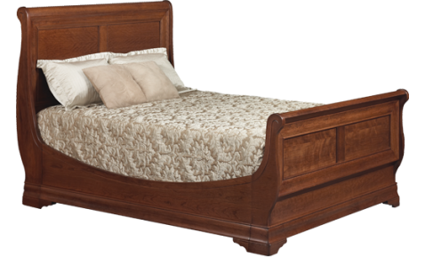 Versailles Sleigh Bed | Subtle opulence and grand French design create a bedroom fit for a queen! | Shown in Cherry, Woodberry Stain