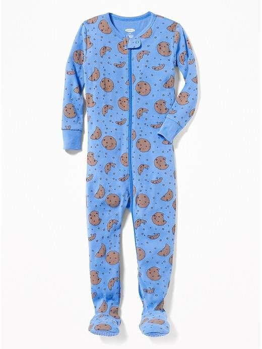 303975291 Cookie-Print Footed Sleeper for Toddler   Baby  guard Long zipper ...