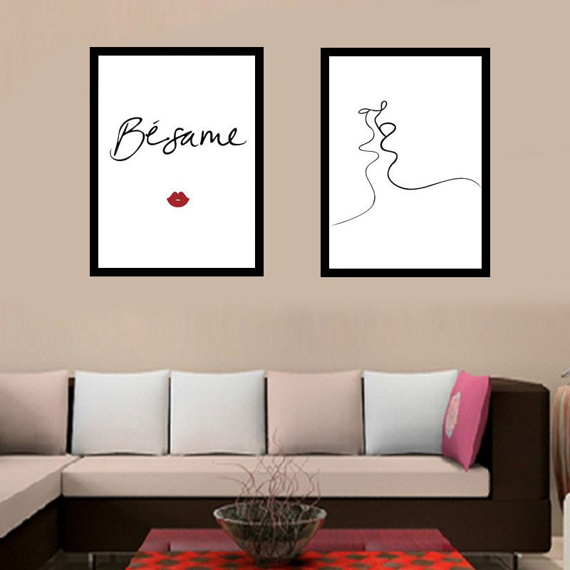 Modernen Minimalistischen Schwarz Weiß Linien Küssen Liebe Leinwand  Kunstdruck Malerei Poster Wand Bild Für Wohnzimmer Kein