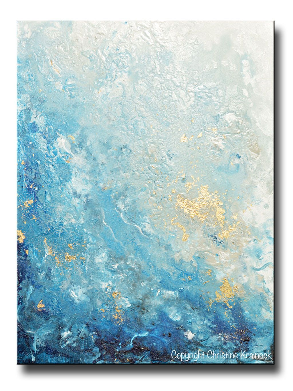 Original art modern blue abstract painting navy white grey for Gold paintings on canvas