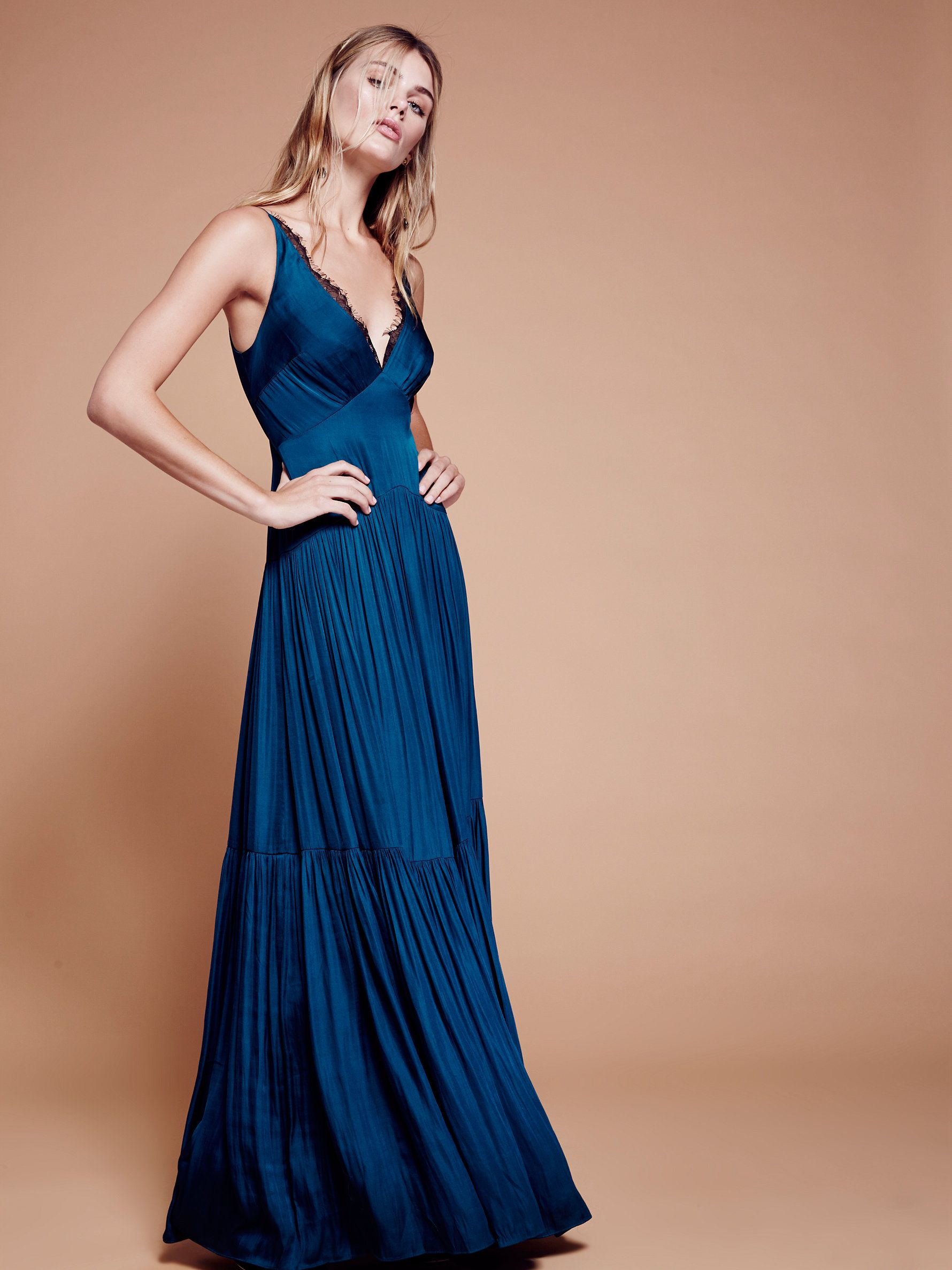 586ee9e566cf Eve Maxi Dress   Ultra femme maxi dress featuring delicate lace along the  plunging V-