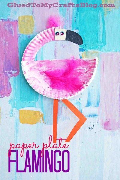 Paper Plate Flamingo Kid Craft Preschool Ideas Misc