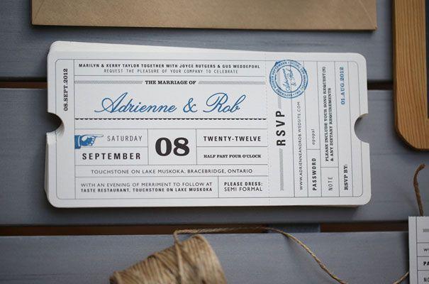 Lula Bella Stationery Invitation Travel Ticket Wedding 7