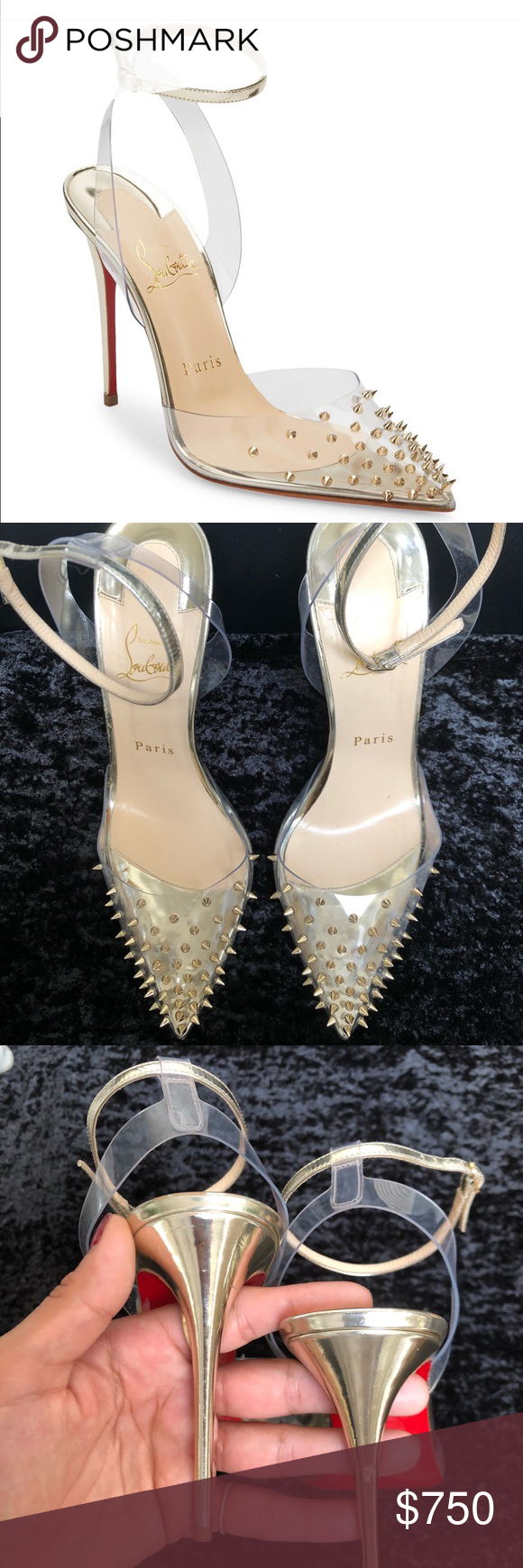 dddf35176 SPIKOO 100 PVC/SPECCHIO TRANSP/LIGHT GOLD 😍 Size- 39 Used Purchased at  Saks Fifth Ave. Christian Louboutin Christian Louboutin Shoes Heels