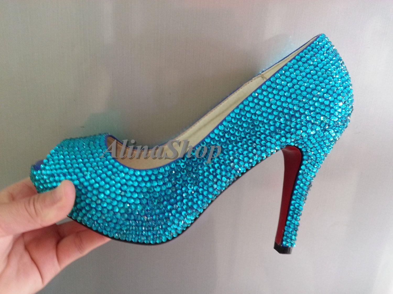 Turquoise Wedding Shoes Teal Rhinestone Bridal Peep Toe Heels Red Bottom Bling Crystals