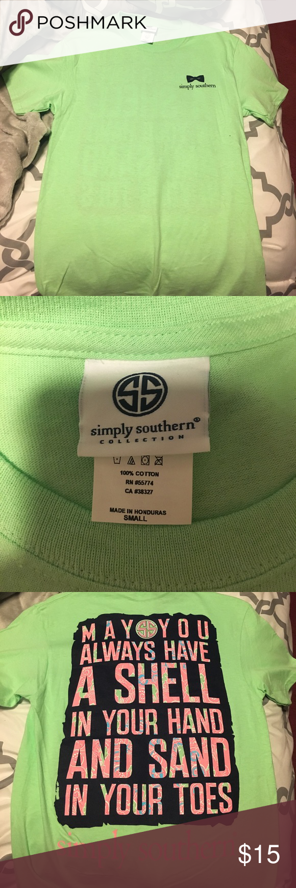 """Simply Southern t-shirt (small) Green Simply Southern t-shirt, size small, never worn! The back reads, """"may you always have a shell in your hand and sand in your toes"""" Simply Southern Tops Tees - Short Sleeve"""