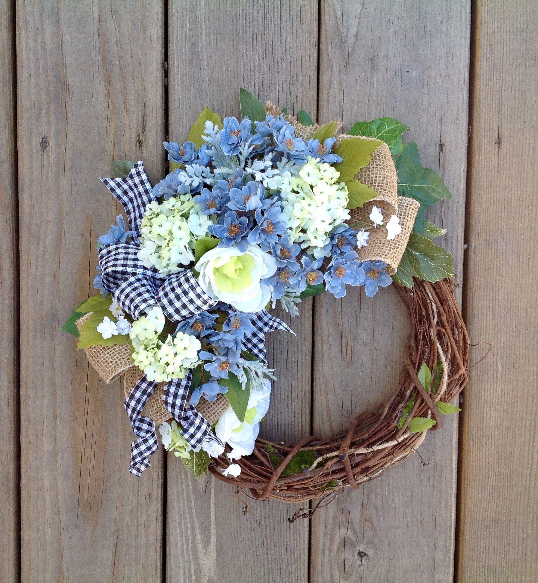 Everyday wreath, year round wreath, blue wreath, small