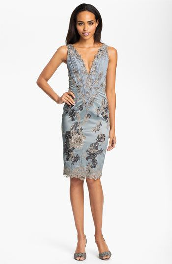 Julian Joyce V Neck Mixed Media Sheath Dress Available At Nordstrom