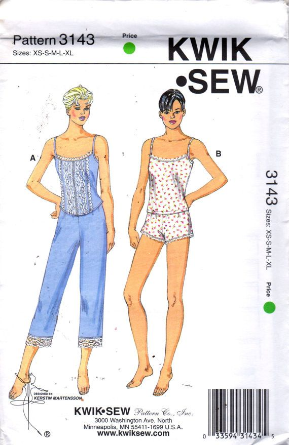 Kwik Sew 3143 Misses Pajamas Pattern Camisole Top Shorts Capri Pants ...