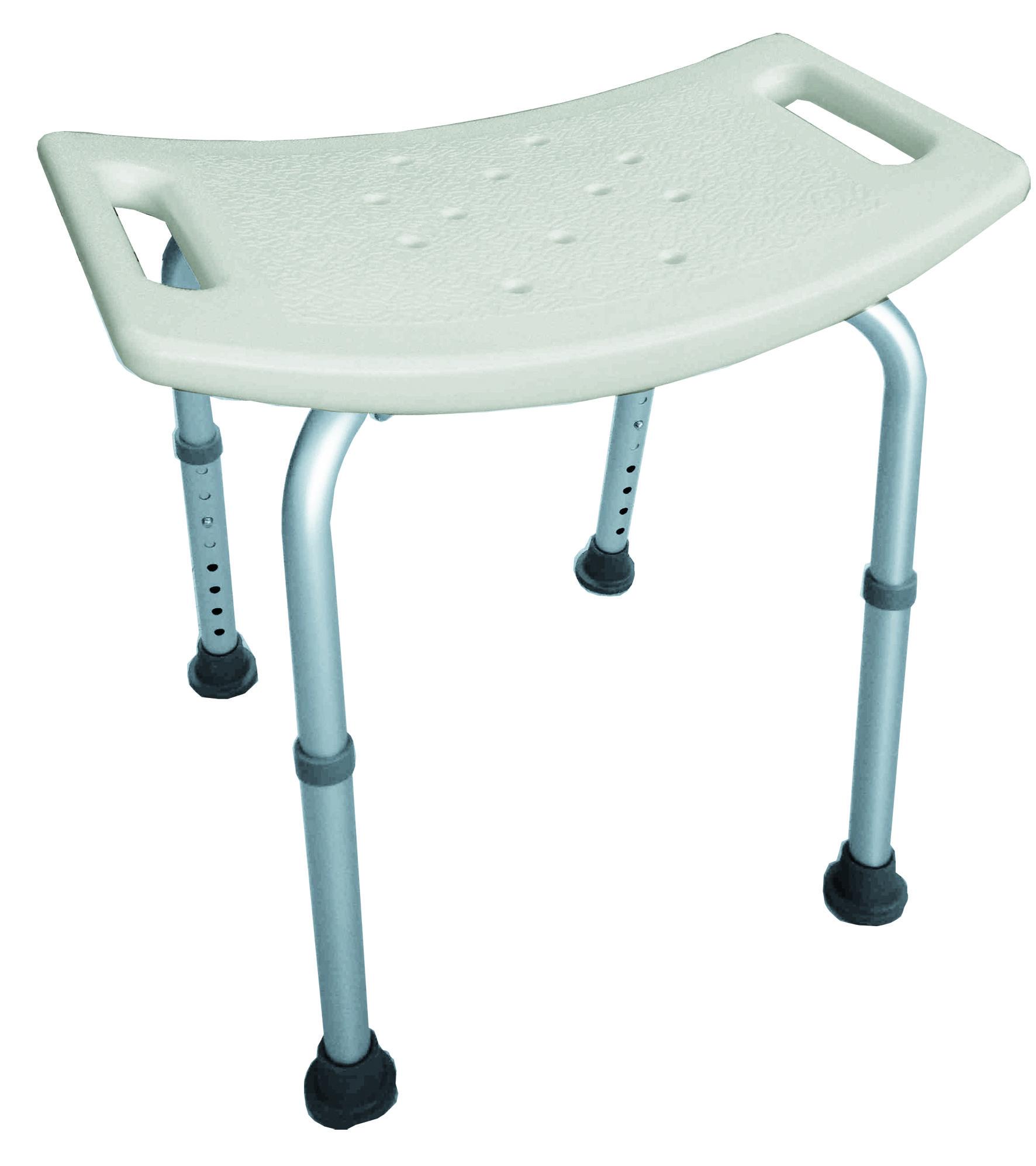 Taburete para el interior de la ducha - Fabricado en material plástico  antideslizante - Con patas extensibles de aluminio y tapones de goma  antideslizante ... c10e47f9751a