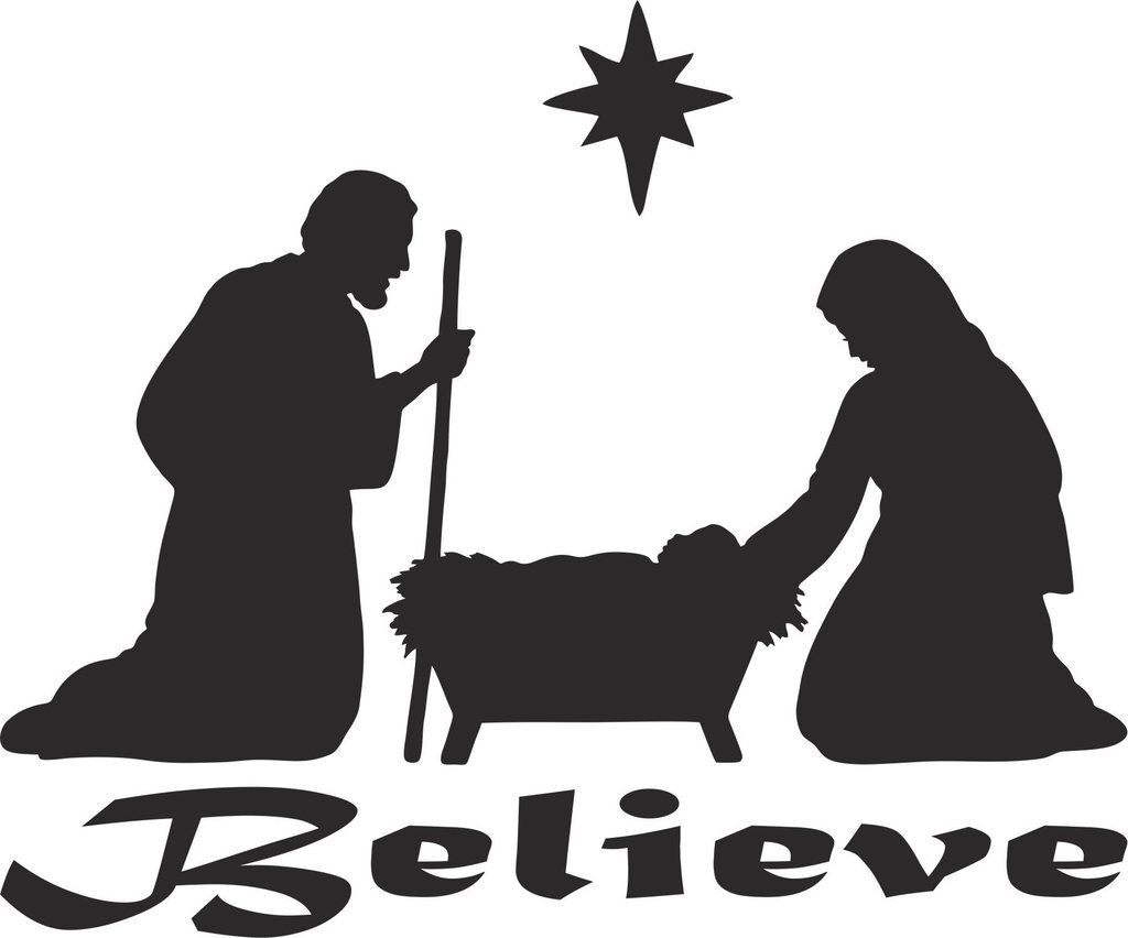 Believe Christian Vinyl Decal | Nativity silhouette ...