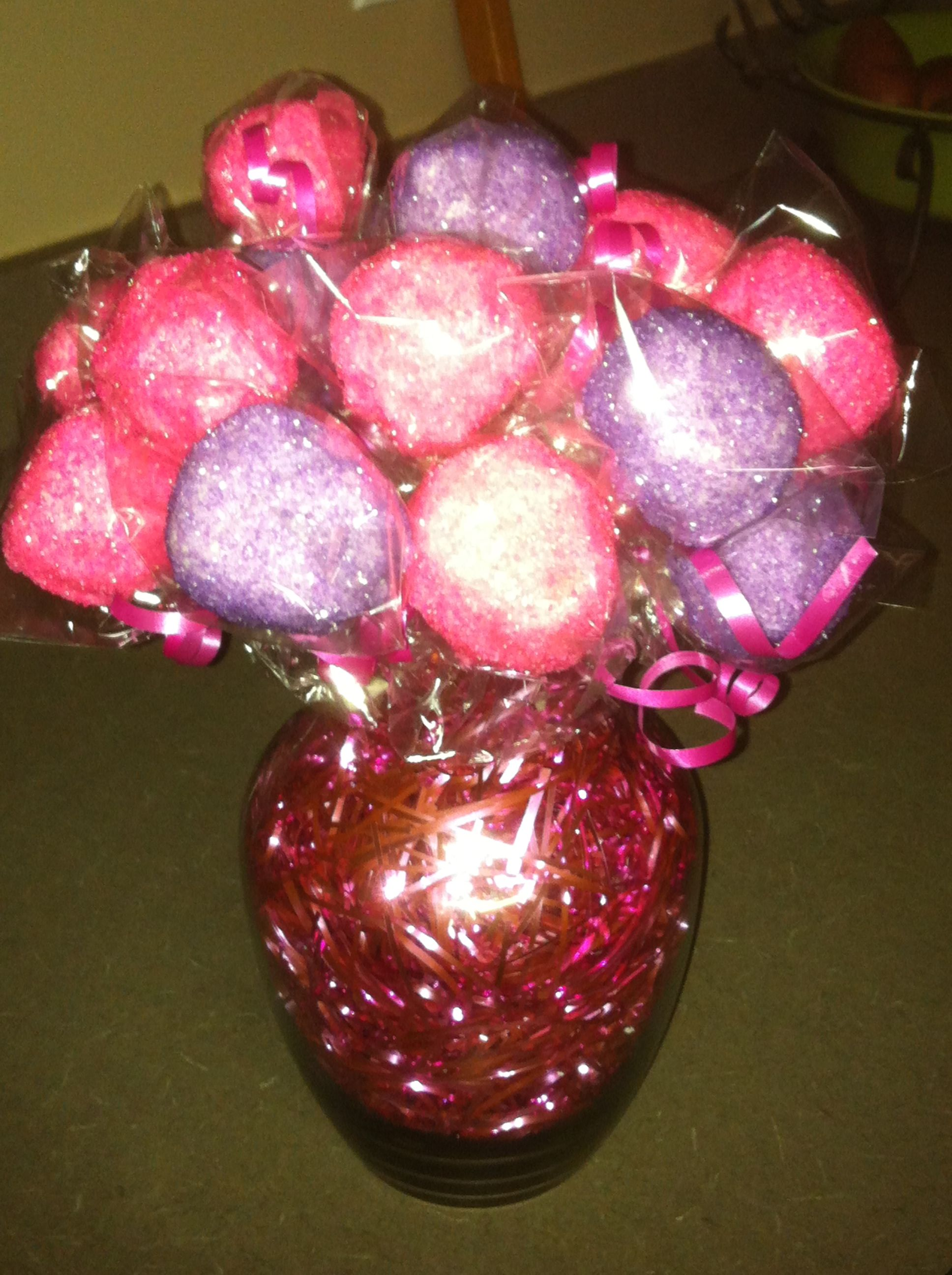 Cake Pops for Hello Kitty pink purple birthday party Made with