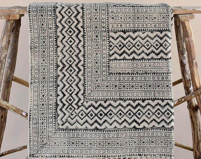 Kantha Quilt Sari Blanket Cotton Rug By