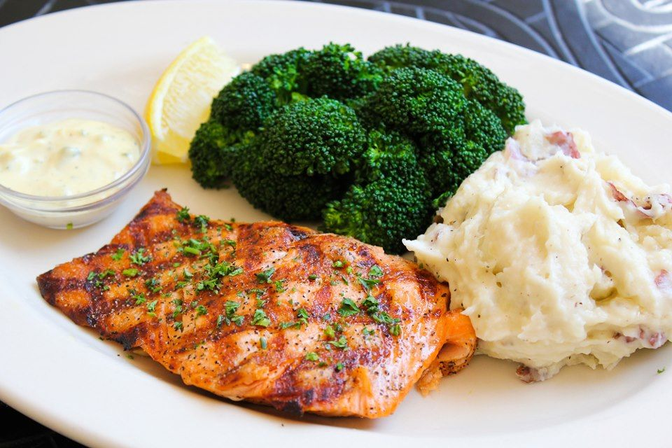 Fresh Grilled Salmon Served With Oh So Delicious Mashed