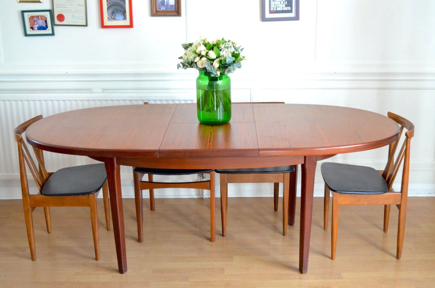 Vintage Danish style rosewood extending table and