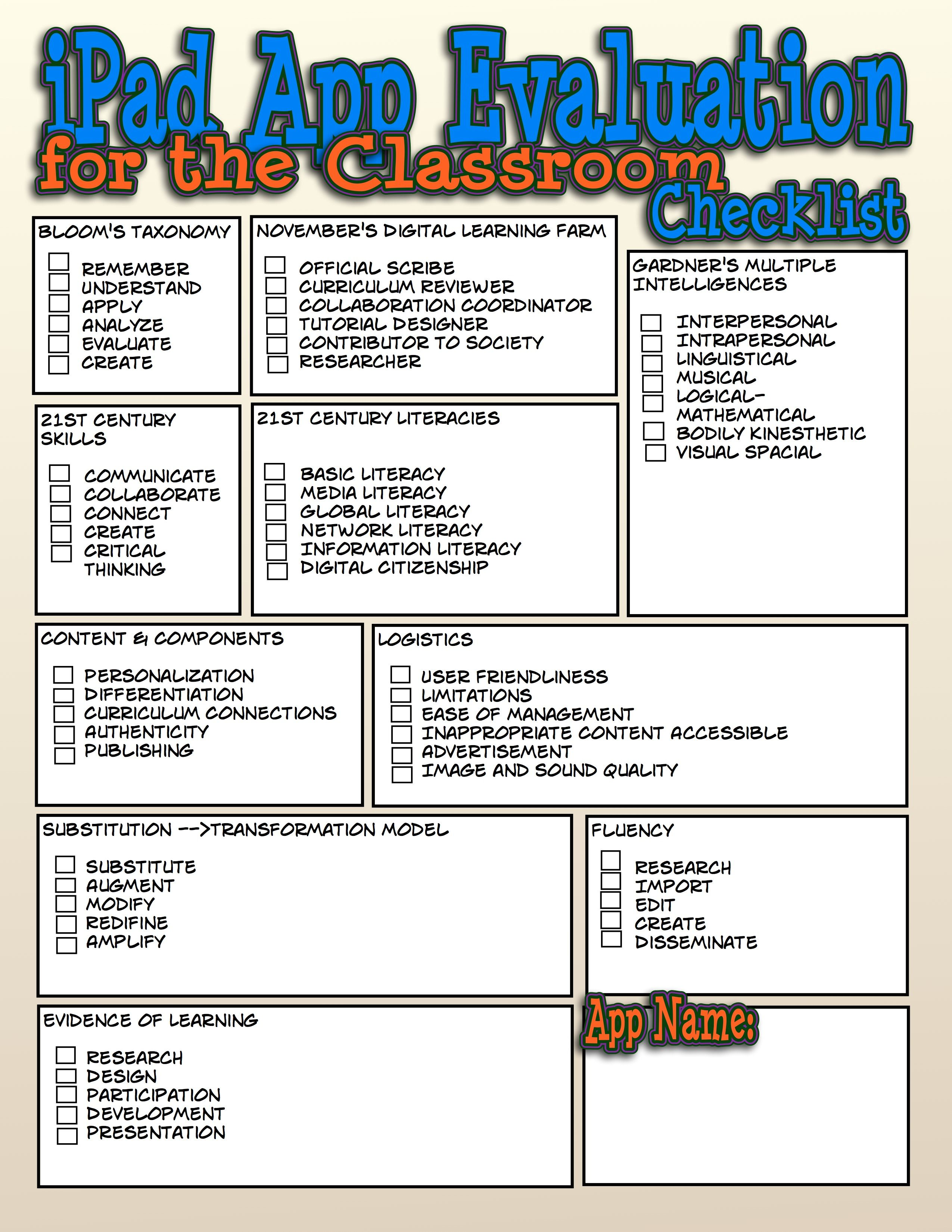 Ipad App Evaluation For The Classroom Checklist  Educational
