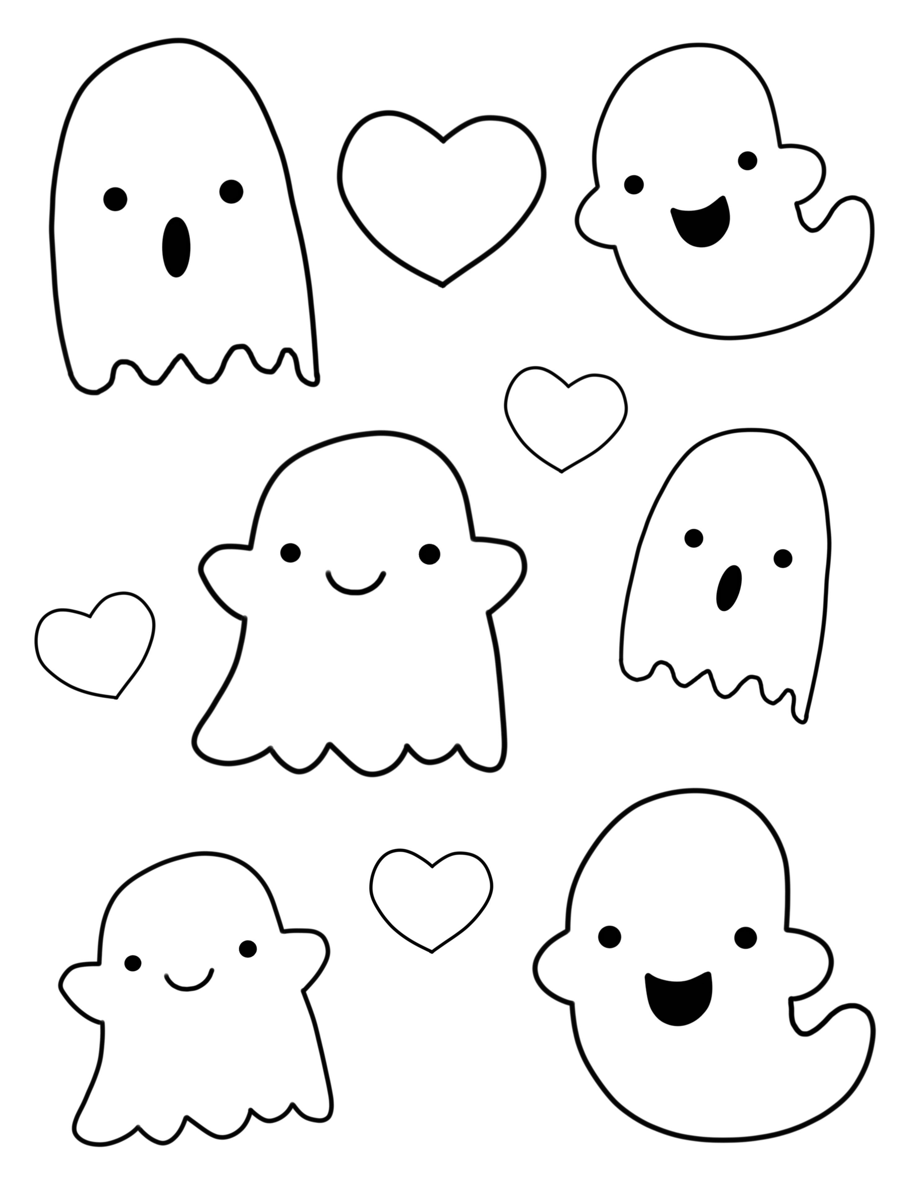 Kawaii Ghost Outlines Halloween Drawings Halloween Doodle Easy