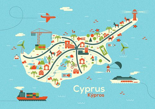 Cyprus Map | Art Cyprus | Pinterest | Cyprus, Paphos and ...