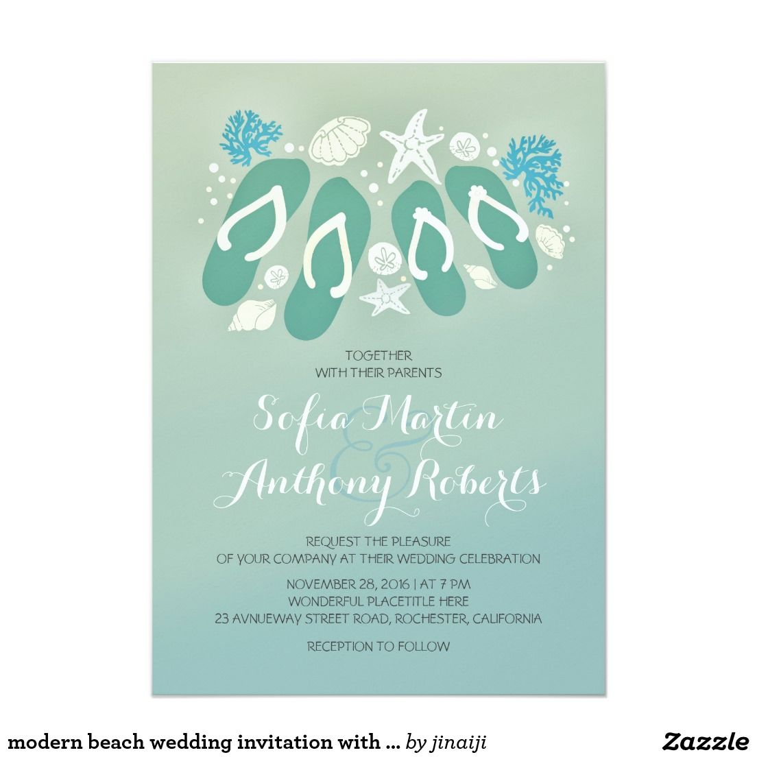 modern beach wedding invitation with flip flops | Invitations ...
