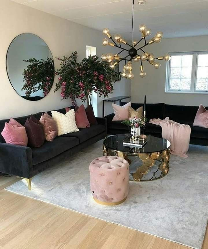 Pin By Mariam Helper On Espacios In 2020 Small Living Room Decor Black Couch Living Room Living Room Inspo