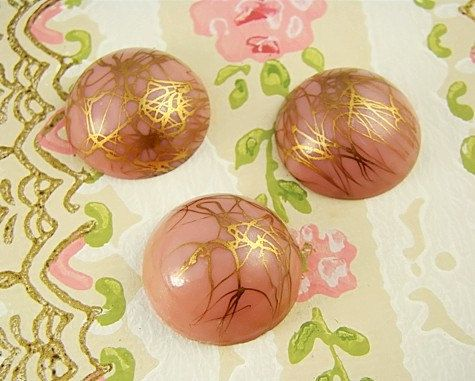 Retro Pink and Gold Drizzle Glass Cabochons by alyssabethsvintage, $2.25