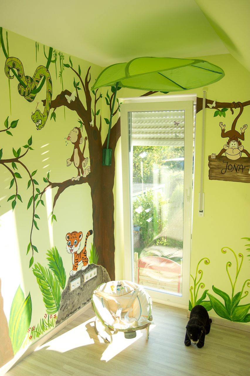 wandgestaltung kinderzimmer dschungel | Kreative Wandgestaltung ...