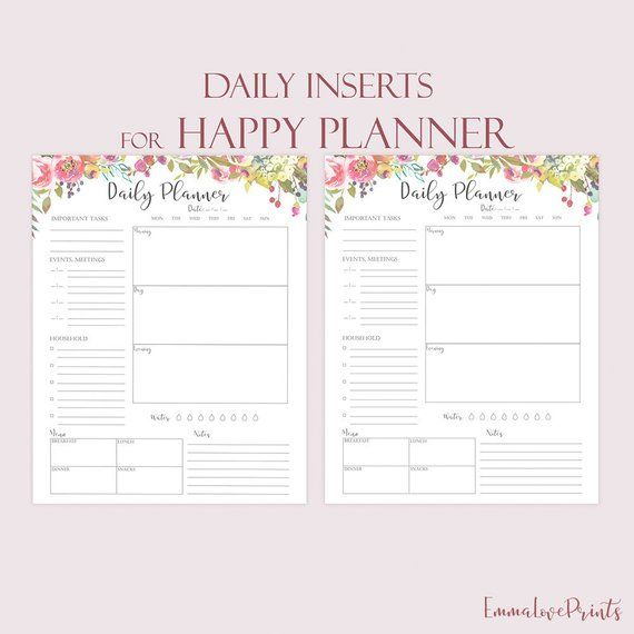 Daily Planner Printable For Happy Planner Inserts Daily Schedule