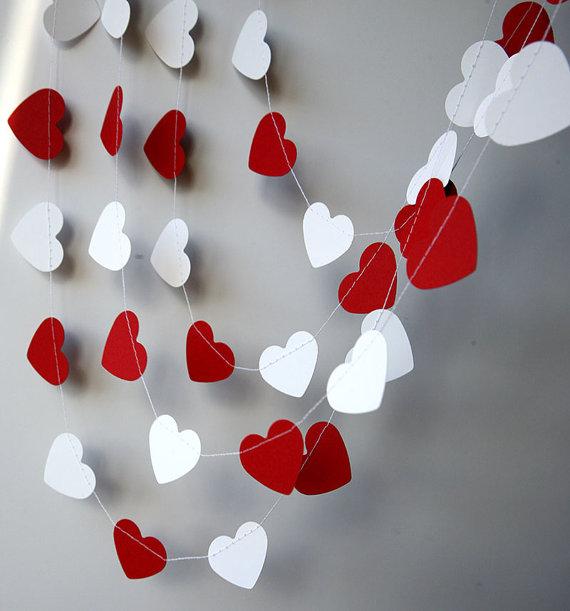 Guirnalda corazones d a san valent n corazones rojo for Decoracion san valentin pinterest