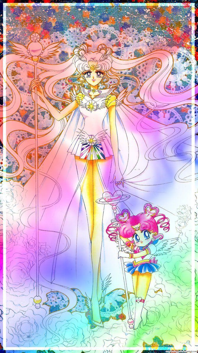 Sailor Cosmos and Chibi Chibi Android Wallpaper by