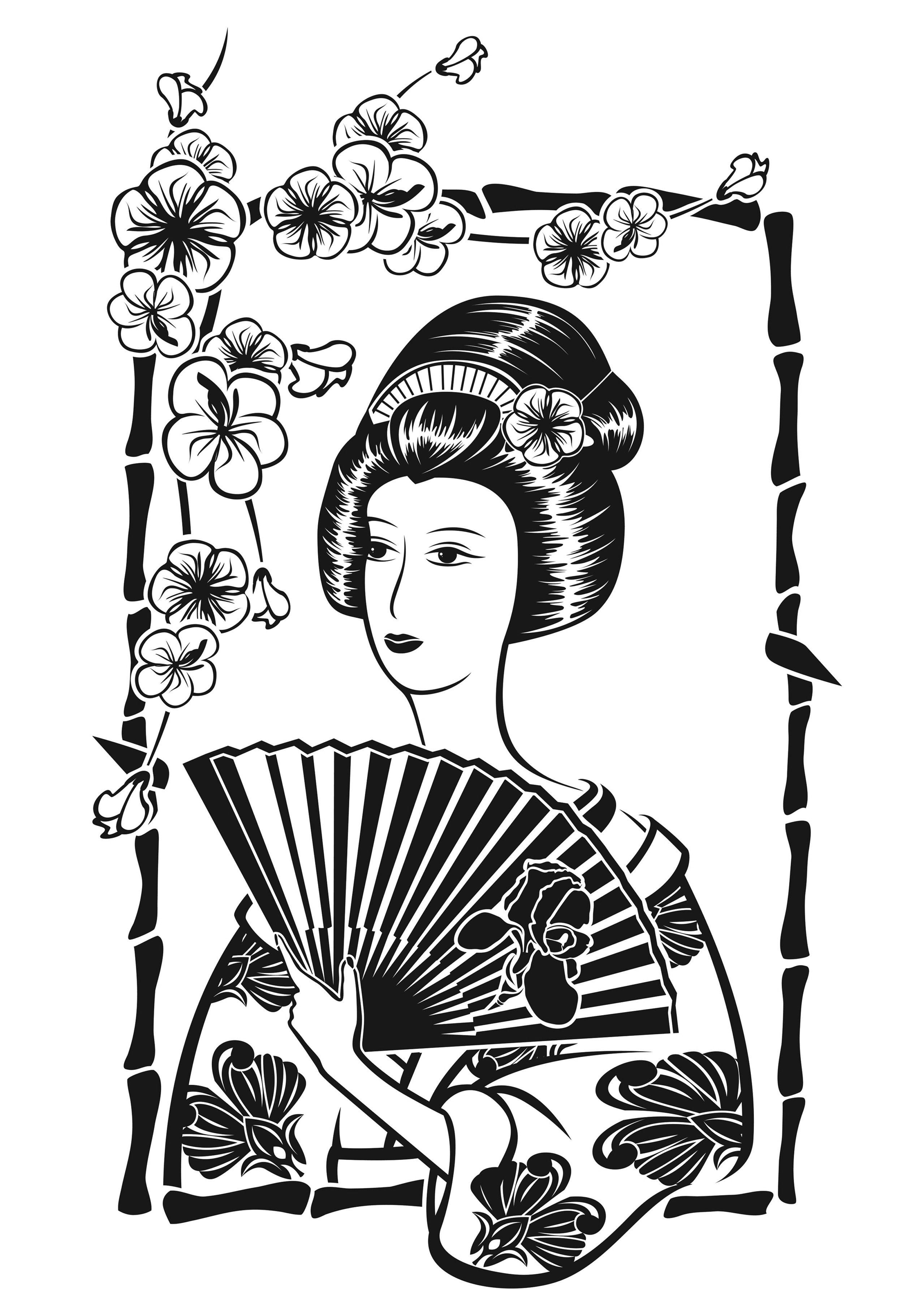 Japonaise avec son éventail, devant fleurs de cerisierA partir de l ...