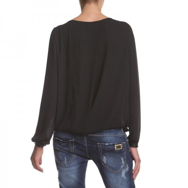 DEBBIE BLOUSE OVER BLACK Blouse with pu leather embroidery on front. http://shop.mangano.com/en/topwear/16735-camicia-debbie-over-nero.html