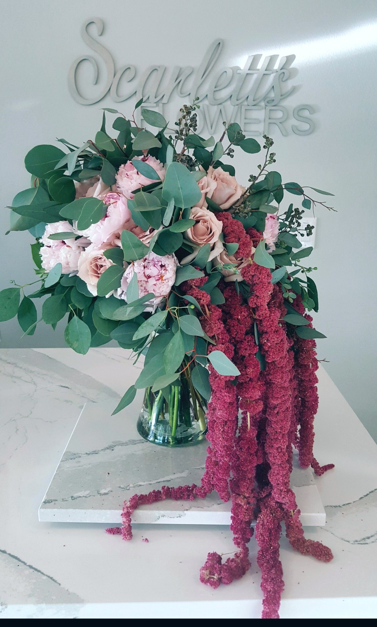 gardeney bouquet with hanging amaranthus designed by on sweet dreams for your home plants decoration precautions and options id=71057