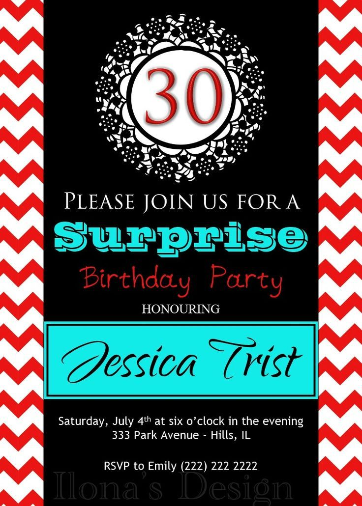 Surprise Invitation - Birthday Party Invitation - Printable Invite ...
