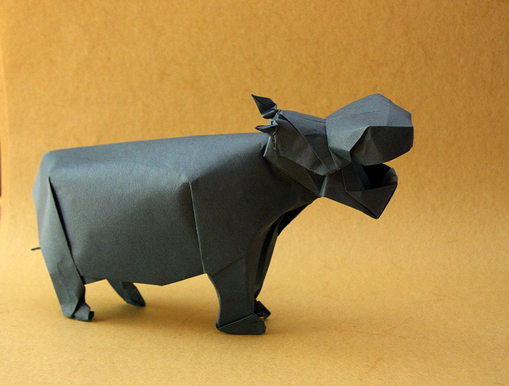 Intrepretation hippo by lionel albertino origami paper origami intrepretation hippo by lionel albertino by passionorigami jeuxipadfo Image collections