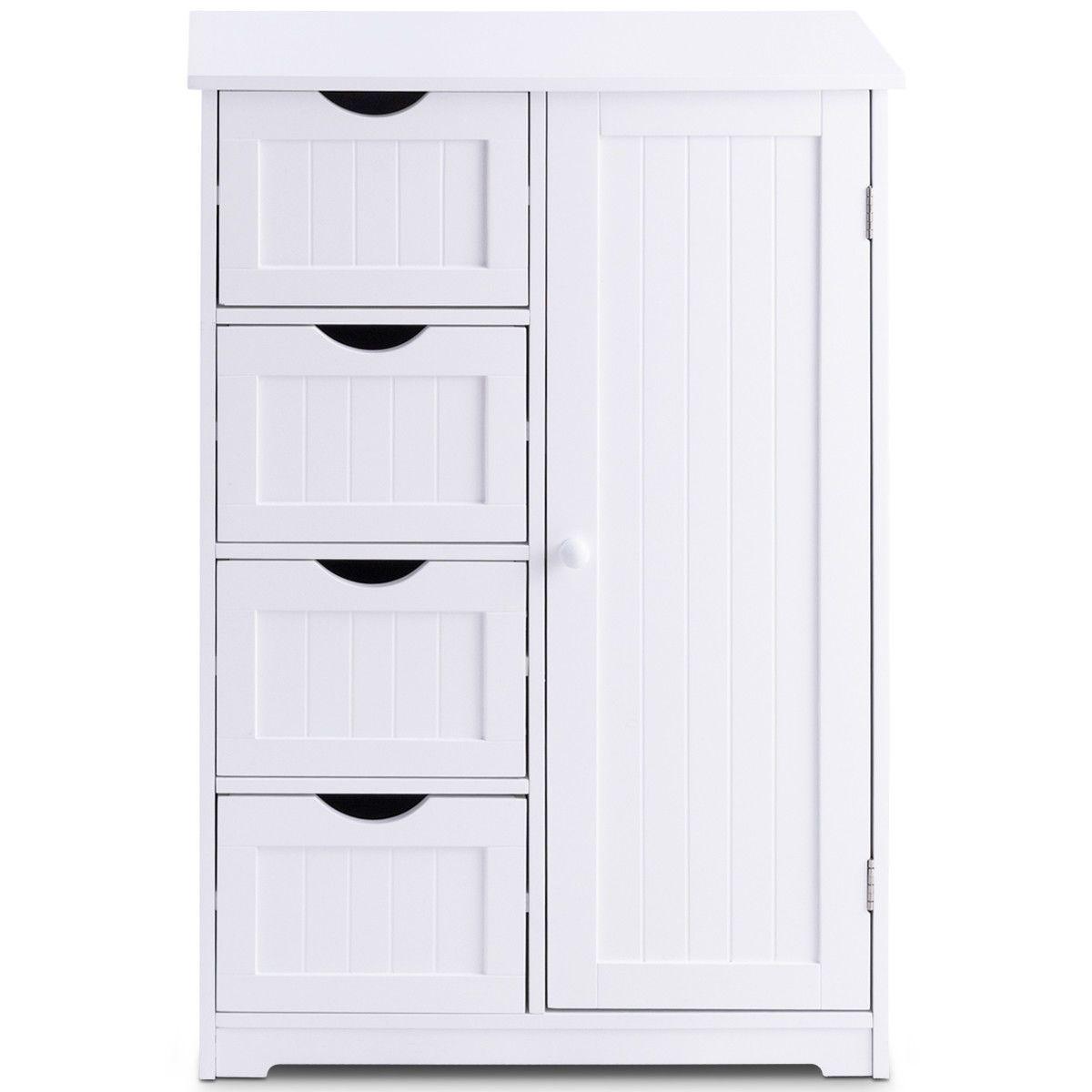 Costway Wooden 4 Drawer Bathroom Cabinet Storage Cupboard ...
