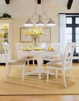 American Drew Camden White Round Dining Table Set Www.onewayfurniture.com