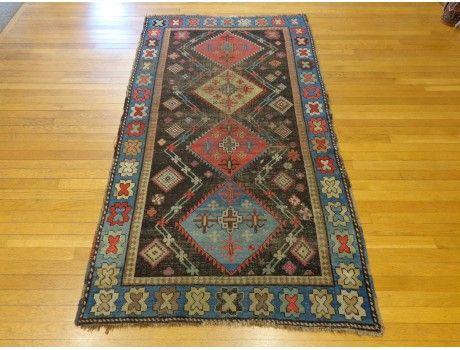 Gorgeous Antique Caucasian Karabagh rug with interesting blue border