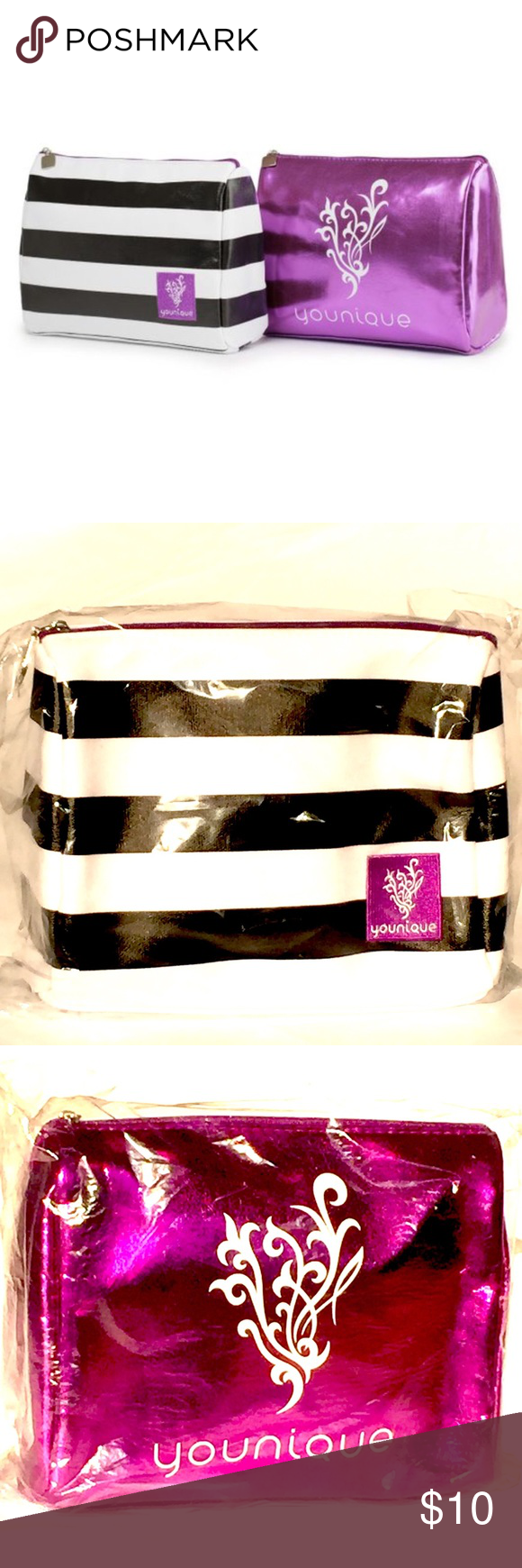 Younique Makeup Bag in Purple or B&W Stripes This