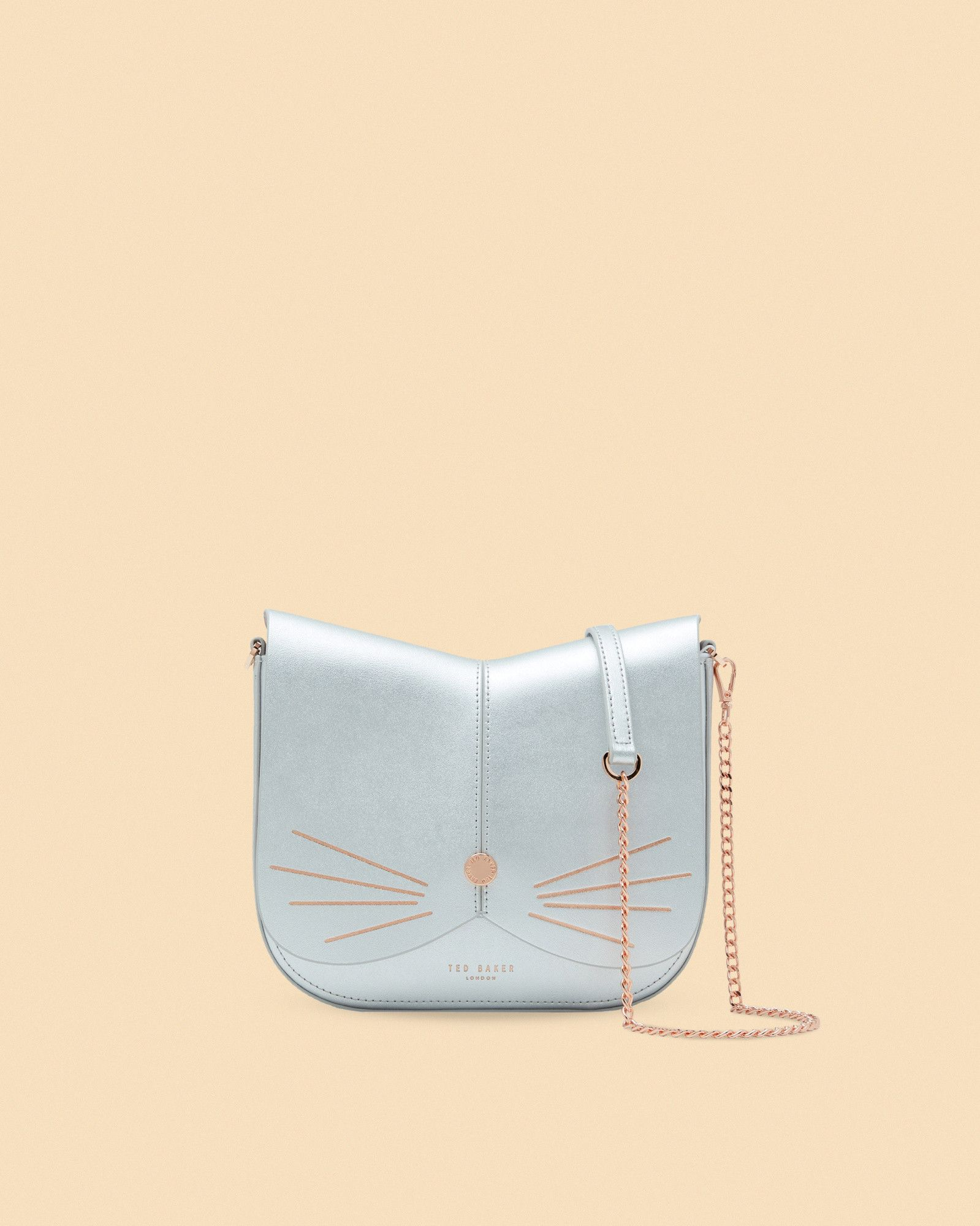 9d1cddd944a8be Ted Baker Cat leather cross body bag Silver